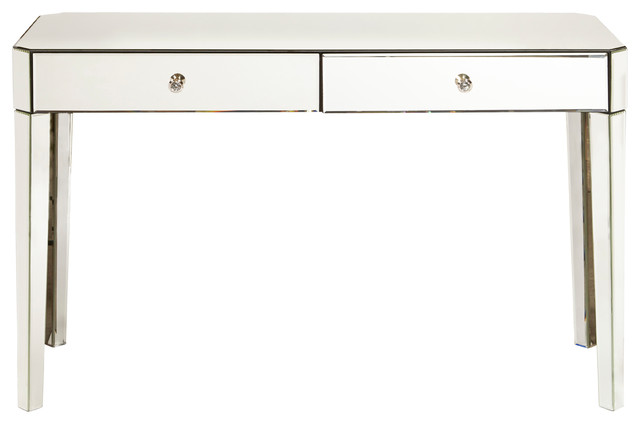 Mirrored Two Drawer Desk.