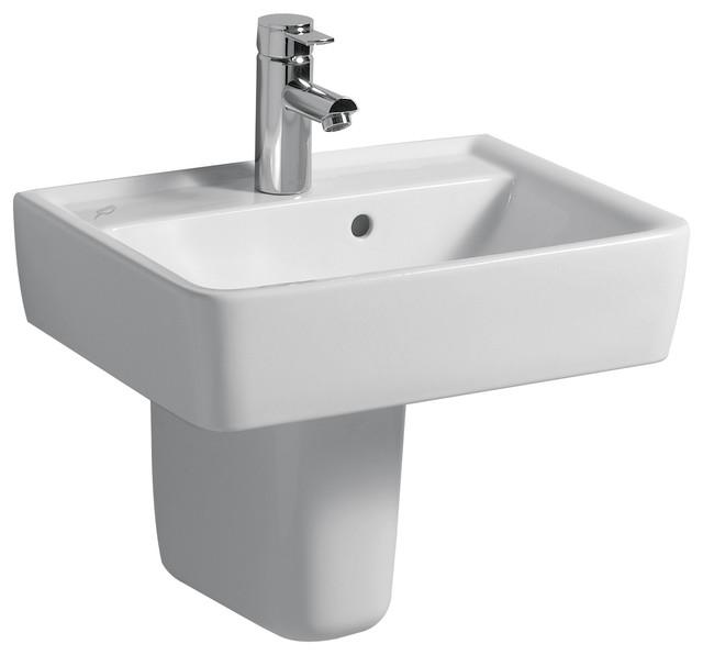 Renova 20 Wall Mounted Semi Pedestal Bathroom Ceramic Sink With Overflow