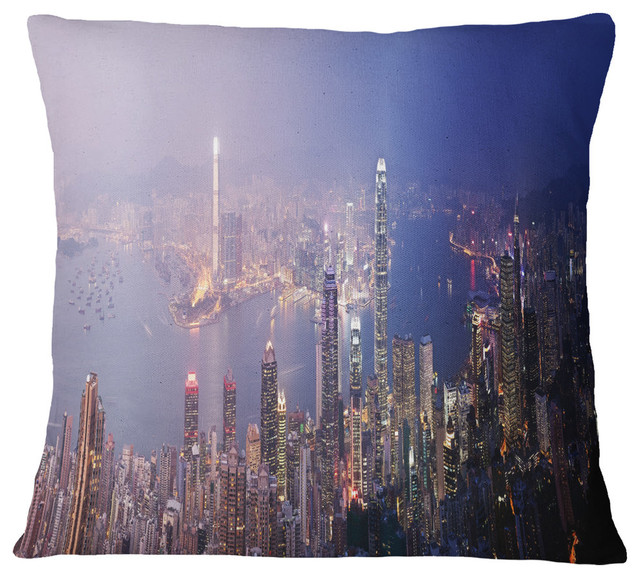 """Hong Kong From Day To Night Cityscape Photo Throw Pillow, 18""""x18"""""""