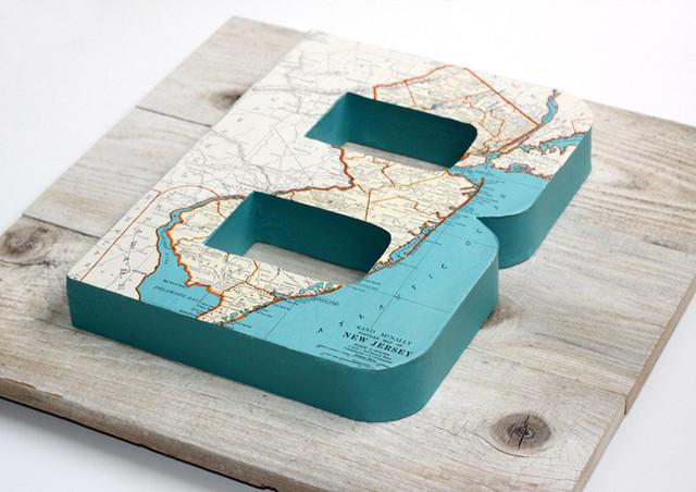 Vintage Map Letter B on Reclaimed Wood