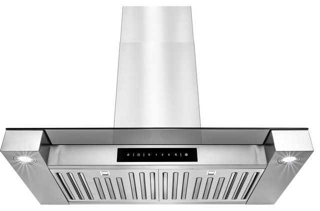"30"" Stainless Steel Touch Screen Display Led Light Lamp Wall Mount Range Hood."