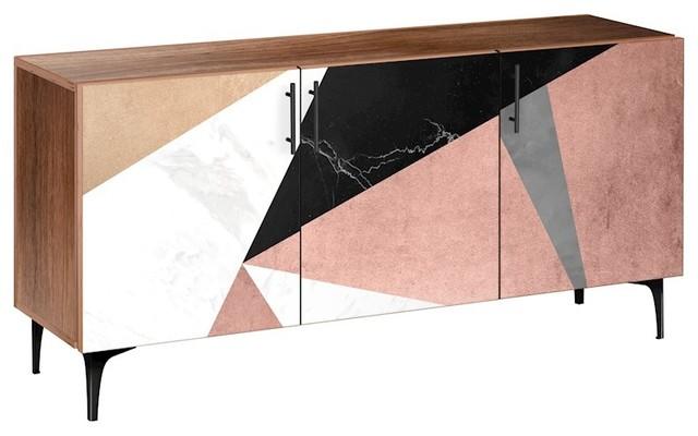 NYE Koncept Metallic Mashup Arc Sideboard, Walnut/Black