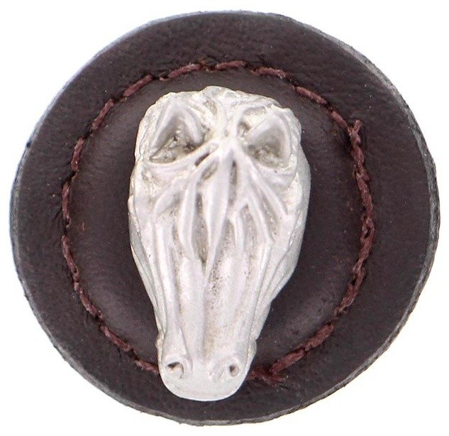 Equestre, Knob, Large, Round Leather, Horse - Southwestern - Cabinet And Drawer Knobs - by ...