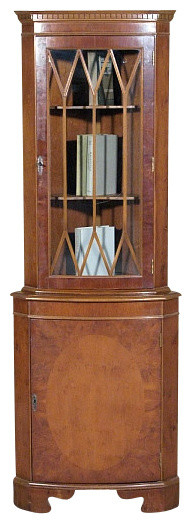 Antiques Consigned Vintage English Yew Corner Bookcase ...