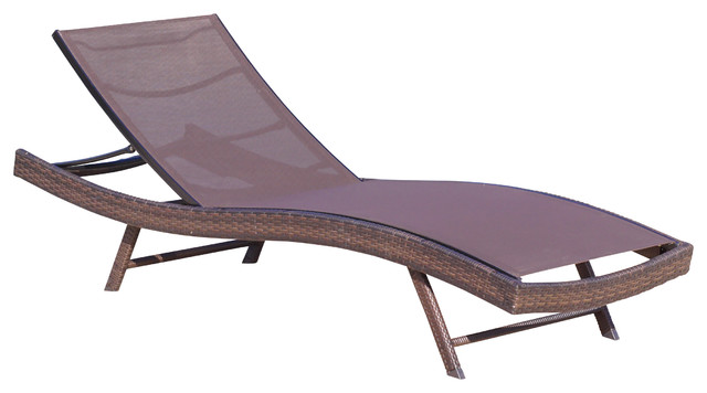 Denise Austin Home Burnham Outdoor Brown Mesh Chaise Lounge Chair  Contemporary Outdoor Chaise