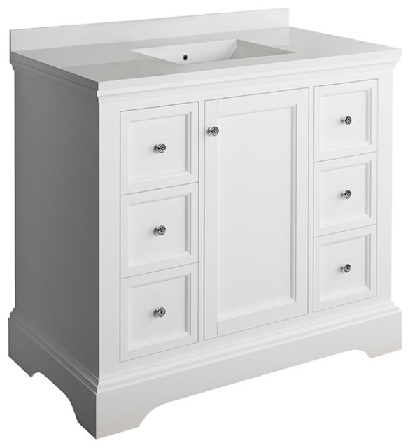 """Fresca Windsor 40"""" Matte White Cabinet With Top and Sink"""