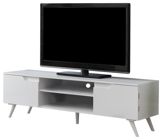 Willi 59 White Wood Contemporary Tv Stand Storage Entertainment Center