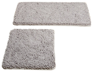 Lavish Home 2 Piece Memory Foam Shag Bath Mat, Gray