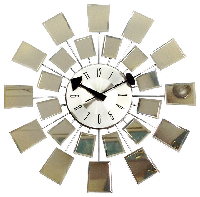 Mirrored Wall Clock george nelson reflections mid-century modern mirror wall clock