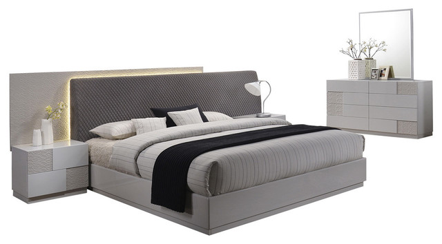 Naple, Silver Line Gray 5-Piece Modern Platform Bedroom Set, Queen