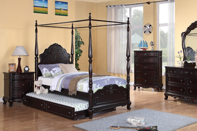 $535.5 Homelegance Cinderella Cherry Wood Girl Twin Canopy Poster Bed  1386TPP traditional-canopy-beds - $535.5 Homelegance Cinderella Cherry Wood Girl Twin Canopy Poster