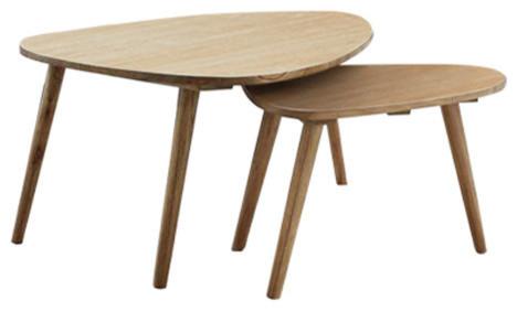 Oslo White Cedar Nesting Coffee Tables, Set of 2