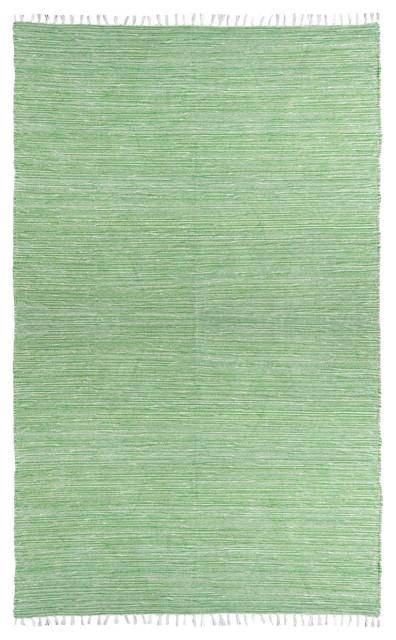 Green Complex Chenille Flat Weave Rug, 5&x27;x8&x27;.