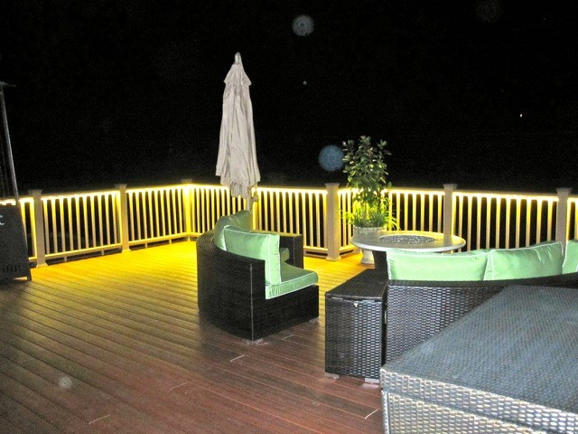 Deck And Balcony Design With Led Lighting Traditional