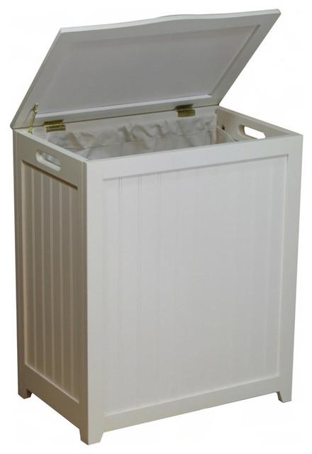 White Solid Wood Rectangular Laundry Hamper.