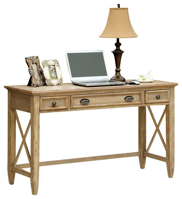 Riverside Furniture Coventry Writing Desk In Weathered Driftwood  Transitional Desks And Hutches