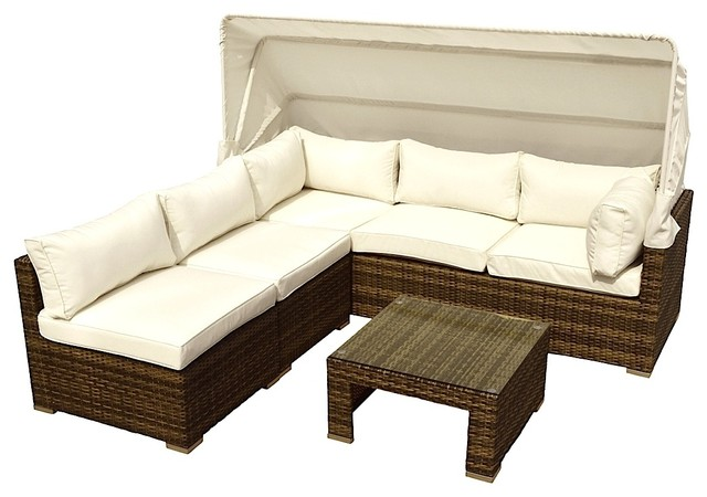 Outdoor Patio 4 Piece Rattan Resin All Weather Wicker Sectional