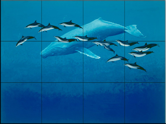 Tile mural humpback whale spinner dolphins beach style for Dolphin tile mural