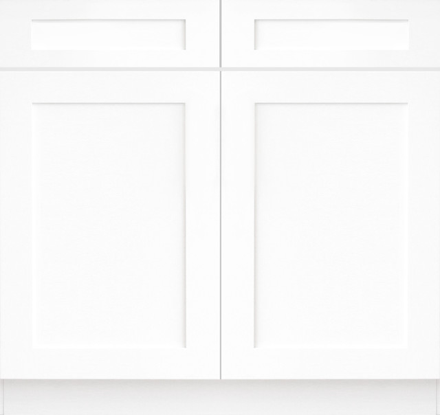 Ice White Shaker Kitchen Base Cabinet AW B36 Transitional Kitchen Cabinetry