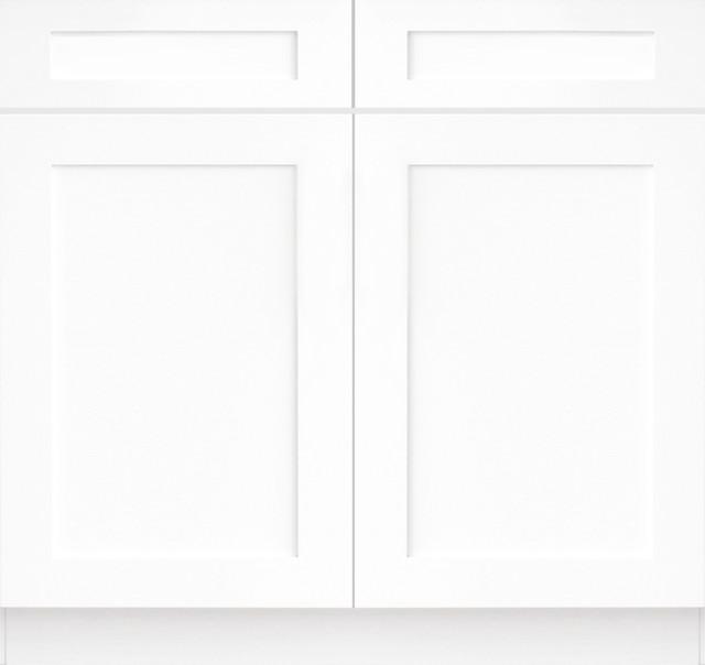 Forevermark tsg ice white shaker kitchen base cabinet aw for White kitchen base cabinets