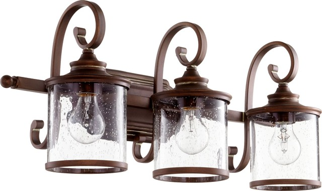 Quorum Bathroom Lighting quorum san miguel 3-light vanity, persian white - transitional