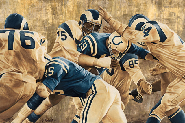 """Nfl Wall Art the fearsome foursome"""" nfl artwork, rolled - contemporary - game"""