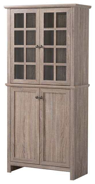 Homestar 2 Door Glass Storage Cabinet, Reclaimed Wood Farmhouse China  Cabinets And