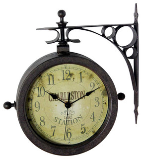 Merveilleux Infinity Instruments Two Sided Rustic Charleston Clock/Thermometer    Traditional   Outdoor Clocks   By Hudson U0026 Vine