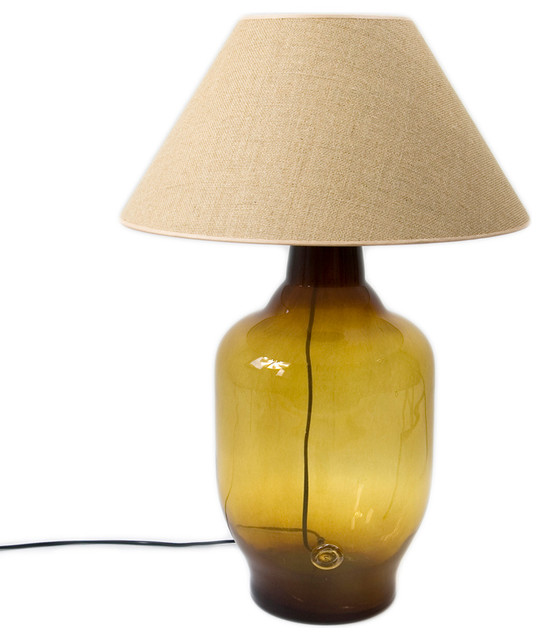 Wide Glass Carafe Table Lamp, Honey