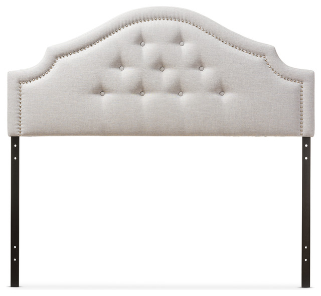 Cora Fabric Upholstered Headboard, Grayish Beige, Queen.