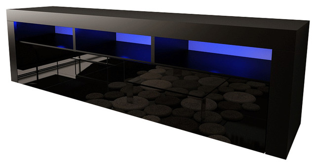 """Wall Mounted Floating 63"""" Tv Stand Led, Milano Classic, Black."""