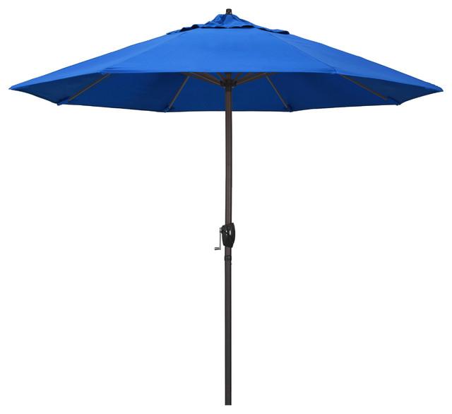 9 Aluminum Umbrella With Auto Tilt Crank Lift Bronze Olefin Royal