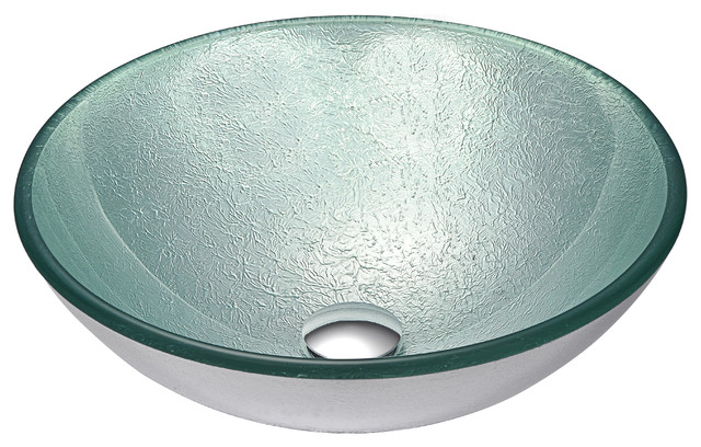 Spirito Series Deco-Glass Vessel Sink, Churning Silver.