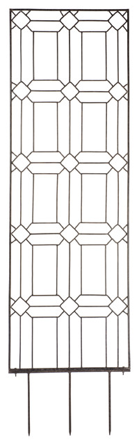 Large Diamond Trellis, Wrought Iron, Weather Resistant Outdoor Wall Decor.
