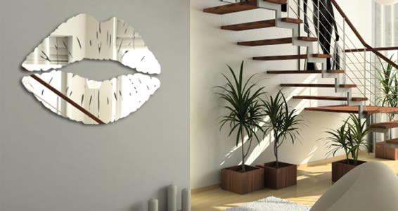 Lips Resin Acrylic Mirror Wall Decal, ...