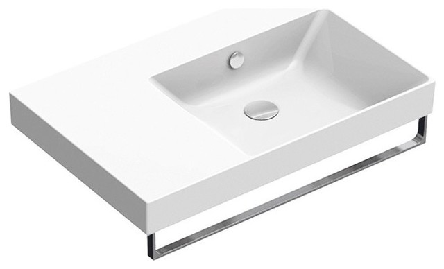 New Zero 75 cm Right Offset Basin, White Gloss