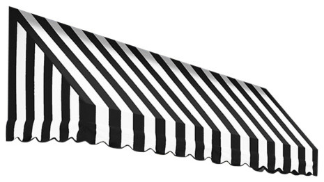 "3&x27; San Francisco Window Awning, 24"" Hx42"" D, Black And White."