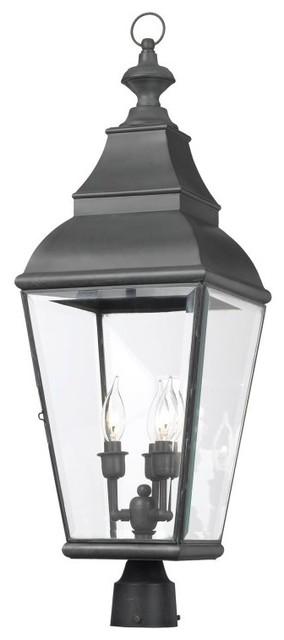 Bristol Solid Brass Outdoor Post Lantern, Charcoal