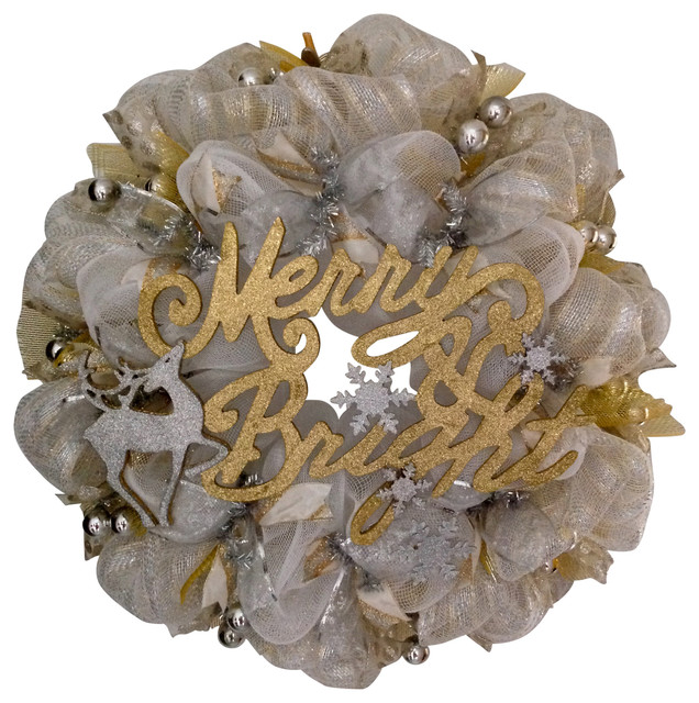 Merry And Bright Christmas Silver And Gold Deco Mesh Wreath.