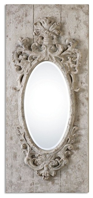 Uttermost ornate distressed ivory wood wall mirror for Baroque oval wall mirror