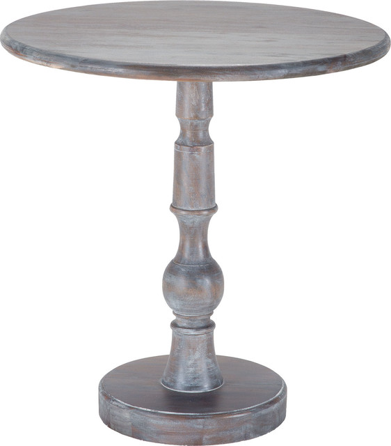 Sterling 7011-023 Acanthus Post Side Table In Waterfront Gray Stain.