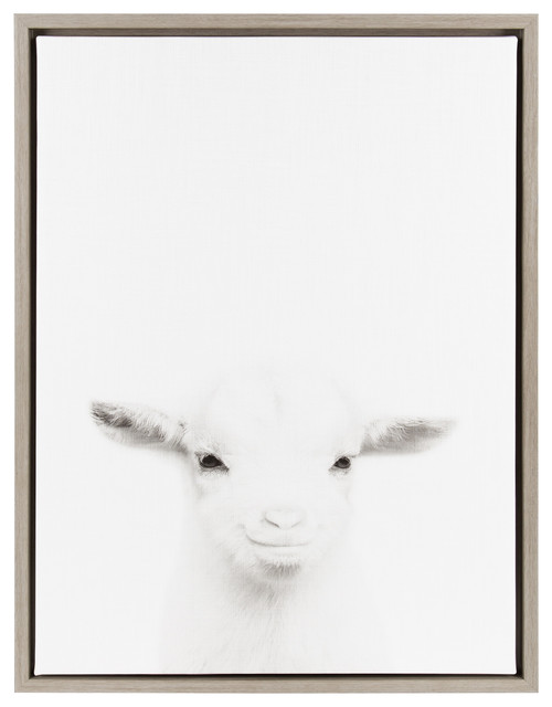 Uniek Sylvie Baby Goat Gray Framed Canvas Wall Art By