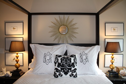 Black & White Master Bedroom with a Touch of Teal contemporary bedroom