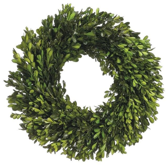 17 Preserved Boxwood Wreath  Green, Set Of 2.