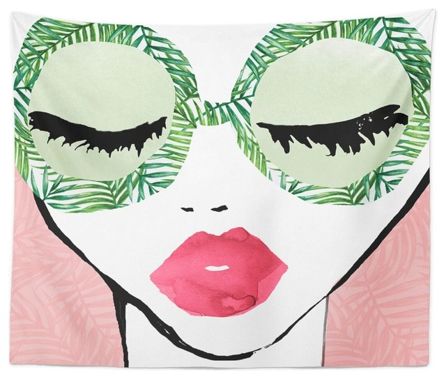 """Oliver Gal """"plant Lady Glasses"""" Wall Tapestry, 80""""x68""""."""