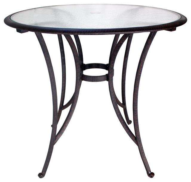 Bosten 43 Bar Height Glass Top Table, Outdoor Bar Height Glass Top Table