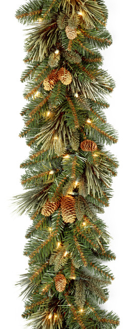 9' Carolina Pine Garland With Clear Lights