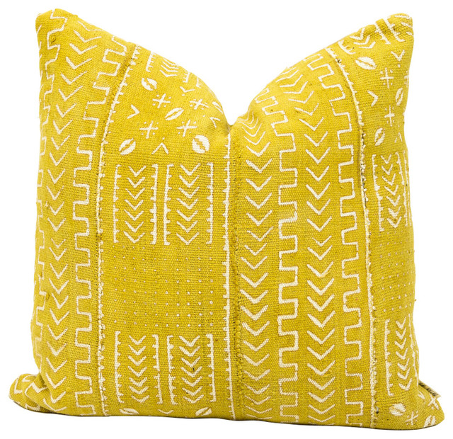 "Ras African Mud Cloth Pillow, 22""x22"", Zipper, With Insert."