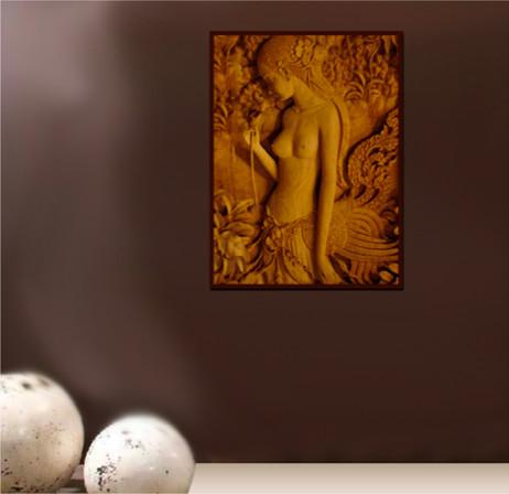 Thai Princess - Thai Hand Carved Wood Art Wall Panel - Asian - Atlanta