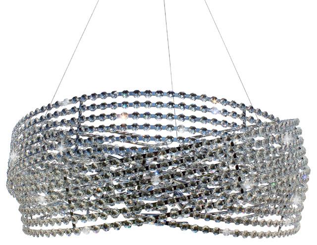 32 3 Ring Drum Crystal Chandelier Pendant
